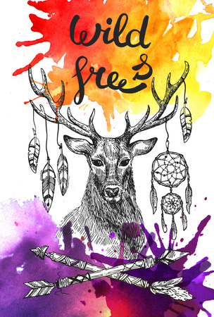 hoofed: Boho Style hand drawn poster with deer and feathers and arrows. Use for t-shirt prints, posters,  wedding, postcards.