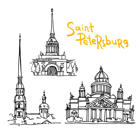Beautiful hand drawn vector illustration sketching of Saint Petersburg.