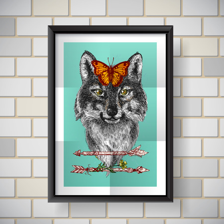butterfly myth: Boho Style hand drawn poster with portrait of wolf. Vector illustration. Use for t-shirt prints, postcards. Illustration