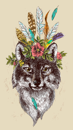 Boho Style hand drawn poster with portrait of wolf. Vector illustration. Use for t-shirt prints, postcards. Illustration