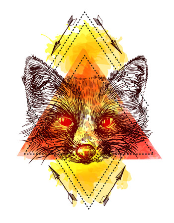 Beautiful hand drawn vector illustration sketching of fox. Tattoo style drawing. Use for postcards, print for t-shirts, posters. Illustration