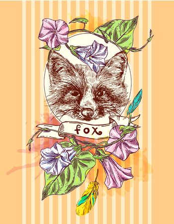 omnivore: Beautiful hand drawn vector illustration sketching of fox. Boho style drawing. Use for postcards, print for t-shirts, posters, tattoo
