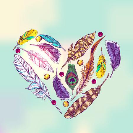 Belle dessiné à la main illustration vectorielle croquis de plumes. Boho dessin de style. Utilisez des cartes postales, imprimer des t-shirts, des affiches.