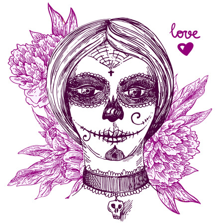 Capo della ragazza con il giorno dei morti make up. Bella disegnata a mano illustrazione vettoriale. pittura a inchiostro. Elemento di design utile per la stampa per t-shirt, poster, posstcard