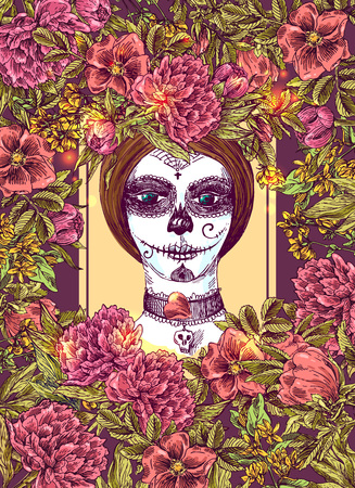 Head of  girl with day of the dead make up. Beautiful hand drawn vector  illustration. Ink painting. Design element useful for print for t-shirt, poster, posstcard Illustration