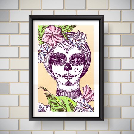 sexy girls: Head of  girl with day of the dead make up. Beautiful hand drawn vector  illustration. Ink painting. Design element useful for print for t-shirt, poster, posstcard Illustration