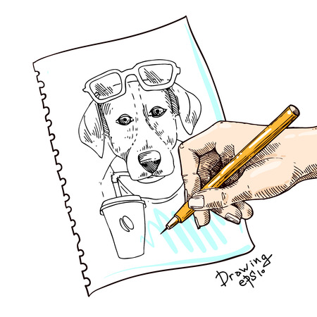 Dog drinks coffee. Hand drawn vector illustration for t-shirt, poster, postcard. Ink drawing.