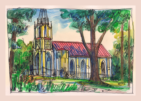 copse: Church in the forest. Watercolor illustration drawn by hands.  Shuvalov park. Saint Petersburg