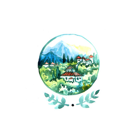 cypress: Watercolor Tuscany landscape. Hand drawn beautiful illustration. Use for postcard, poster and web design. Stock Photo