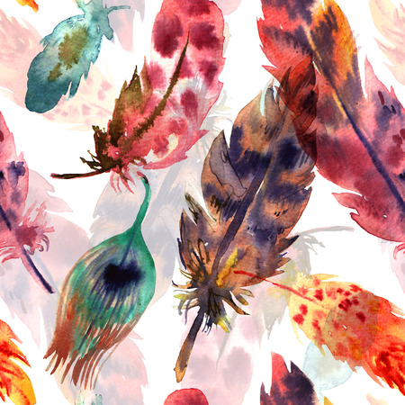 Watercolor hand drawn illustration decorative feathers. Boho style seamless pattern. Use for postcards, print for t-shirts, posters, wedding invitation, tissue, linens Stock Photo