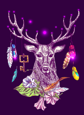Beautiful hand drawn vector boho style illustration of magic deer. Use for postcards, print for t-shirts, posters, wedding invitation, tissue, linens