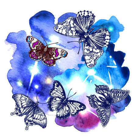 entomological: illustration sketching of butterfly on space watercolor background. Tattoo style drawing. Use for postcards, print for t-shirts, posters, case for smartphone Illustration