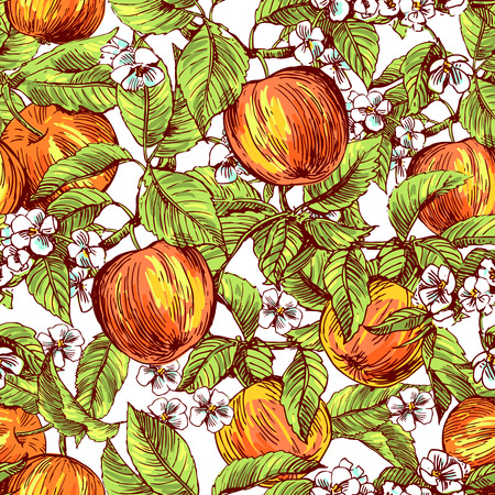 Beautiful hand drawn vector illustration sketching of apples. Boho style floral seamless pattern. Use for postcards, print for t-shirts, posters, wedding invitation, tissue, linens
