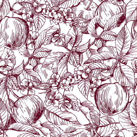 artsy: Beautiful hand drawn vector illustration sketching of apples. Boho style floral seamless pattern. Use for postcards, print for t-shirts, posters, wedding invitation, tissue, linens