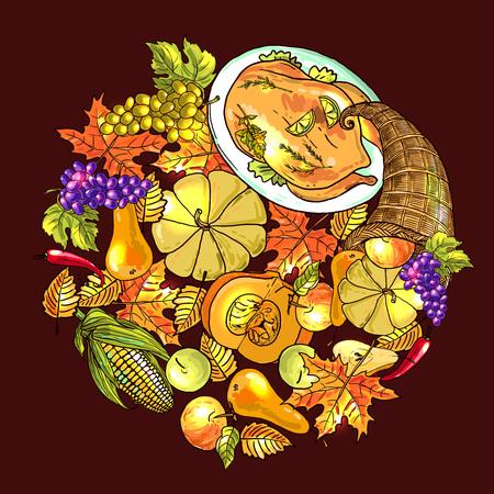 happy thanksgiving day. Hand drawn illustration festive food.
