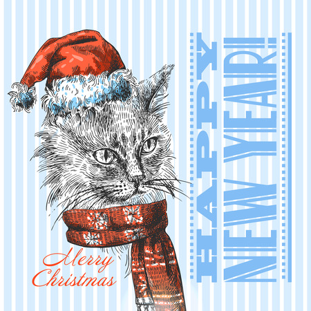 Illustration Christmas cat. Drawing by hand. Sketch style.
