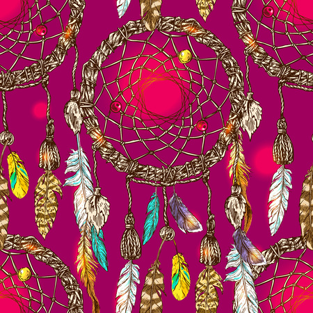 Beautiful hand drawn vector boho style illustration of dreamcatcher.Seamless pattern.  Use for postcards, print for t-shirts, posters, wedding invitation, tissue, linens 免版税图像 - 62567409