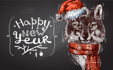 indium: Vector illustration  Christmas wolf. Drawing by hand. Sketch style. Use for posters, postcards, new year design.
