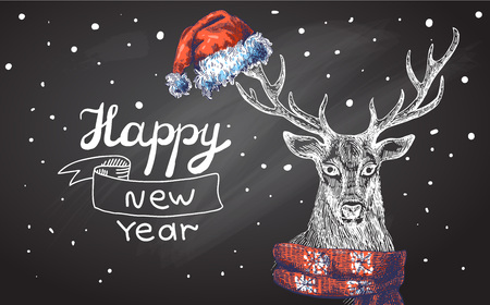 yaer: Vector illustration  Christmas deer. Drawing by hand. Sketch style. Use for posters, postcards, new year design.