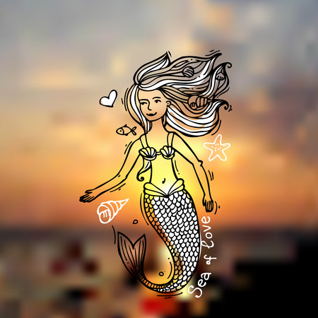woman underwater: Little mermaid on the blurred sea background. Doodle style. Drawing by hand.