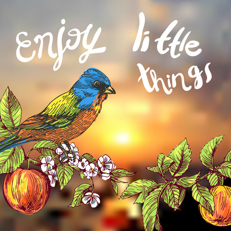 Belle dessiné à la main illustration vectorielle flover et le coucher du soleil. phrase motivant profiter des petites choses. style de croquis. Utilisez des affiches, cartes postales, tirages pour des T-shirts.