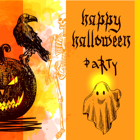 wallpape: Happy Halloween. Hand-drawn vector illustration. Sketch style. Use for invitations, flyers, postcards advertising
