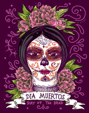 Muertos Dia. Ilustración para el día mexicano de los muertos. Chica con maquillaje del cráneo del azúcar. Ilustración de vector