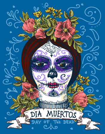 catrina: Dia muertos. Illustration for mexican day of the dead. Girl with make up of sugar skull.