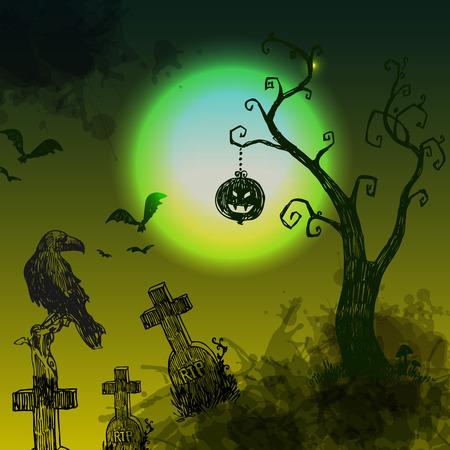 happy halloween illustration. Terrible  night landskape with ,cemetery, tree and moon.