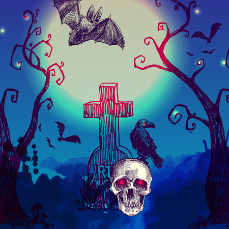necropolis: happy halloween illustration. Terrible  night landskape with skull,cemetery, tree and moon.