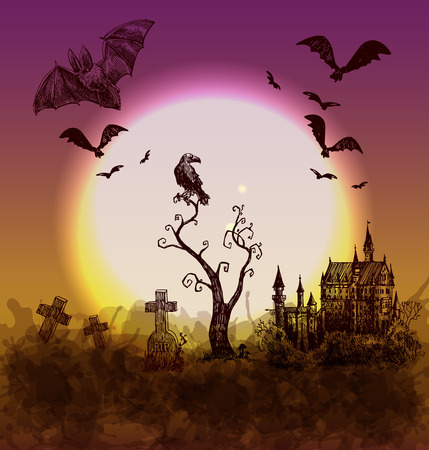 necropolis: happy halloween illustration. Terrible  night landskape with castle,cemetery, tree and moon.