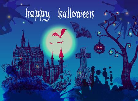 happy halloween illustration. Terrible  night landskape with castle,cemetery, tree and moon.