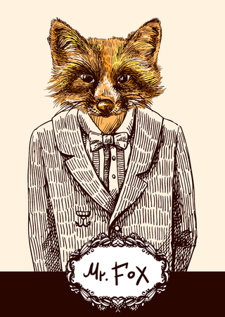 Fox in jacket. Vector illustration for greeting card, poster, or print on clothes. Fashion Style drawing. Hipster. Illustration