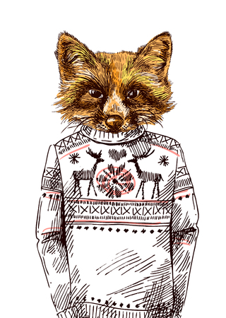 Fox in knitted sweater. Vector illustration for greeting card, poster, or print on clothes. Fashion Style drawing. Hipster.