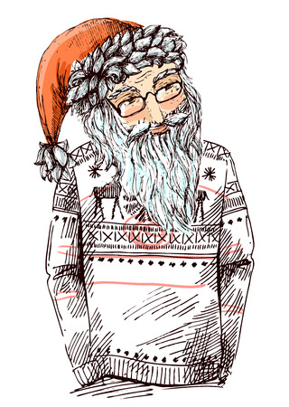 Santa dressed in knitted sweater. Vector illustration for greeting card, poster, or print on clothes. Fashion Style drawing. Hipster.