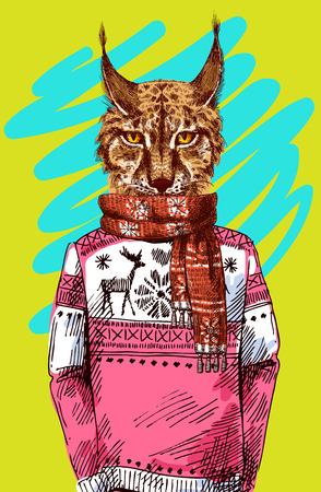 anthropomorphism: Lynx in knitted sweater. Vector illustration for greeting card, poster, or print on clothes. Fashion Style drawing. Hipster.