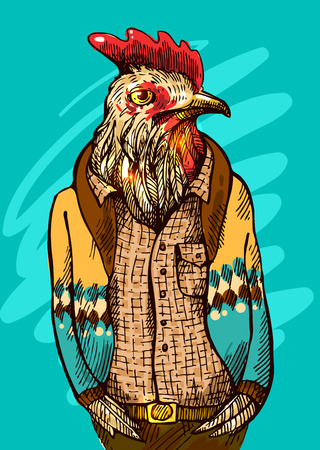 dressy: Cock in hipster costume. Vector illustration for greeting card, poster, or print on clothes. Fashion Style drawing. A symbol of 2017.