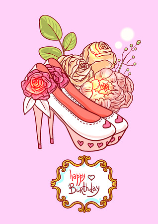 Hand drawn vector illustration with flowers. Us for skrapbuking, tissue, textile, cloth, fabric, web material Illustration