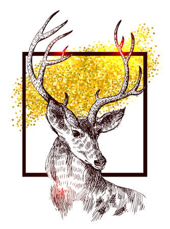 Hand drawn vector illustration sketch of deer and gold.  Boho style. Use for scrapbook, tissue, textile, cloth, fabric, web