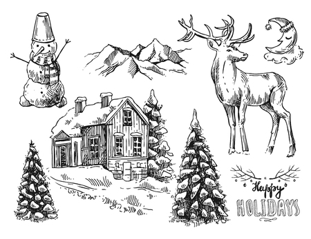 xmas linework: Hand drawn sketch set of illustration christmas landscape with house,  spruce and deer. Us for postcard, card, invitations and cristmas decorations.
