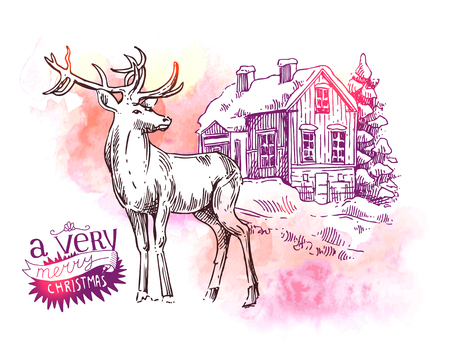 Hand drawn sketch illustration christmas landscape with house,  spruce and deer. Us for postcard, card, invitations and cristmas decorations. Illustration