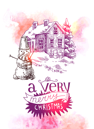 xmas linework: Hand drawn sketch illustration christmas landscape with house,  spruce and snowman. Us for postcard, card, invitations and cristmas decorations.