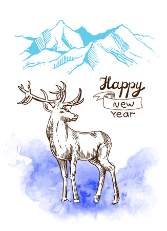 xmas linework: Hand drawn sketch illustration christmas landscape with mauntains and deer. Us for postcard, card, invitations and cristmas decorations.