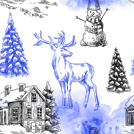 xmas linework: Hand drawn sketch seamless pattern christmas landscape with house,  spruce and deer. Us for postcard, card, invitations and christmas decorations.