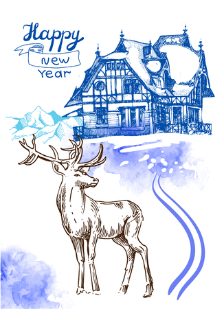 xmas linework: Hand drawn sketch illustration christmas landscape with house and deer. Us for postcard, card, invitations and christmas decorations.