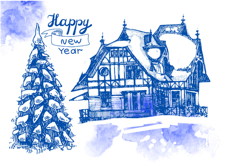 xmas linework: Hand drawn sketch illustration christmas landscape with house and  spruce. Us for postcard, card, invitations and christmas decorations.