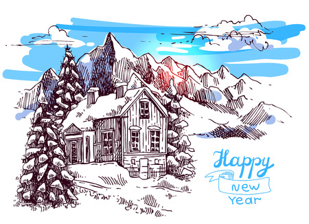 xmas linework: Hand drawn sketch illustration christmas landscape with house in mountains. Us for postcard, card, invitations and christmas decorations.