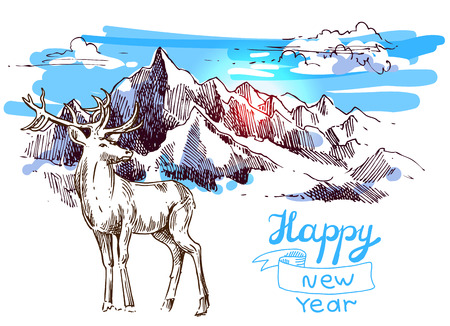 xmas linework: Hand drawn sketch illustration christmas landscape deer in mountains. Us for postcard, card, invitations and christmas decorations. Illustration