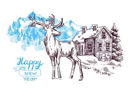 xmas linework: Hand drawn sketch illustration christmas landscape with house,  spruce and deer. Us for postcard, card, invitations and christmas decorations.