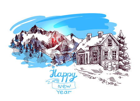 xmas linework: Hand drawn sketch illustration christmas landscape with house,  spruce and mountains. Us for postcard, card, invitations and christmas decorations.